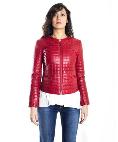 check out d5407 45a04 Quadri • Colore Rosso Giacca Pelle Trapuntata Pull Up Effetto Vintage