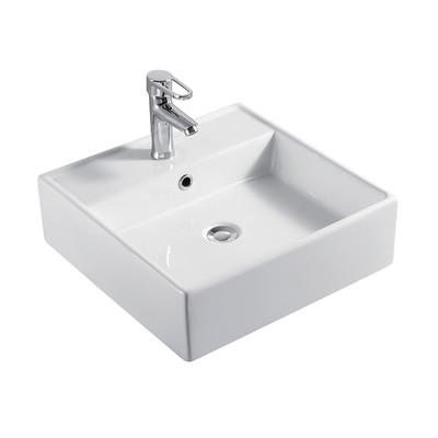 Lavabo Da Appoggio Quadrato In Ceramica L 46 X P H 14.5 Cm bianco